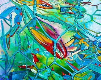 Crab Pot Full-Giclee by Jen Callahan Canvas Wrap
