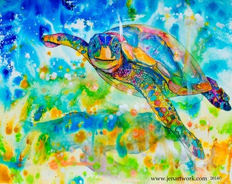 Floating Turtle-Giclee by Jen Callahan Canvas Wrap