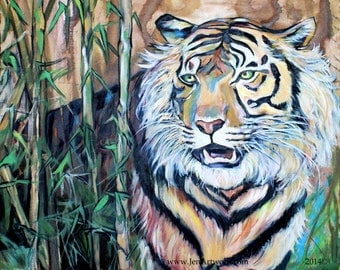 Bamboo Tiger-Art by Jen Callahan Tile,Cuttingboard,Paper Print