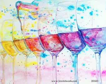 Wine Show Dreams-Art by Jen Callahan Tile,Cuttingboard,Paper Print