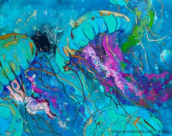 Blue Jelly-Art by Jen Callahan Tile,Cuttingboard,Paper Print