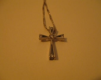 Vintage gold cross and diamonds modernistic white 18kt gold and dimonds
