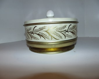 Vintage Guildcraft Gold Tin round Metal Sewing Storage Container New York 1950s wheat design