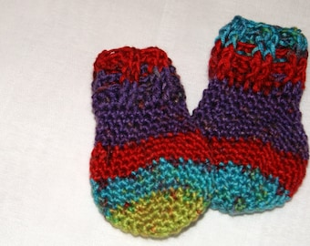 Infant Thumbless Mittens ~ 3 to 6 Month Size ~Multi-Colored Mittens ~ Baby Gift ~ Hand Crocheted Baby Accessory ~ Infant Scratch Mittens