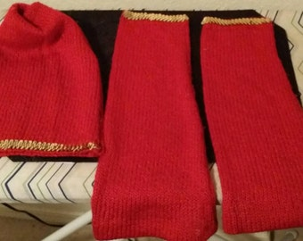 Red Hat and Leg Warmer Set with Sequins