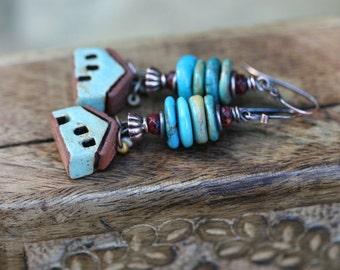 Rustic Romantic 'Village Sous La Lune'Artisan earrings n156 - Tribalis original . Turquoise stone ceramic house  boho bohemian house jewelry