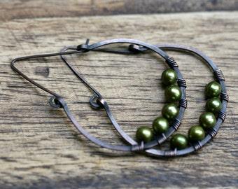 Rustic Green Fresh Water Pearl  earrings n110 - pearl hoops . green olive earrings . pearl earrings . pearl hoops . earthy colors . wrapped