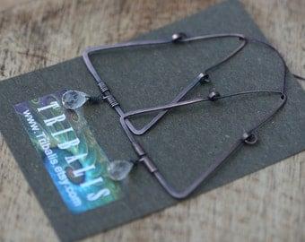 Rustic Geometric Everyday Faceted Crsytal Quartz  Triangular Hoops earrings n 142 - solid copper hoops . triangle piramidal hoops . crystal