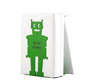 Bookend for kids room Robot (green) powder coated laser cut metal thick enough to hold books