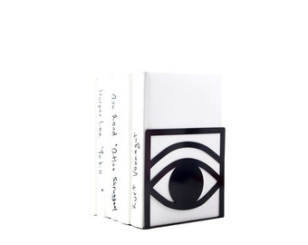 A unique bookend One Eye black // decorative book holder for modern home // housewarming gift // FREE SHIPPING WORLDWIDE