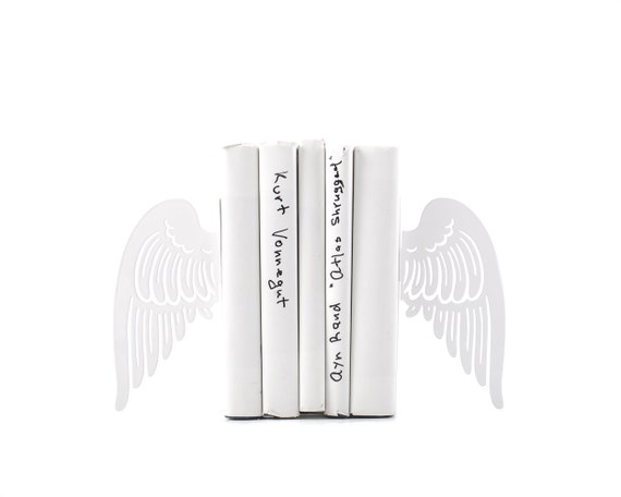 Bookends FREE SHIPPING - Angel wings- laser cut for precision, metal for durability, minimalistic and stylish white color romantic gift