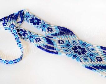 Traditional Ukrainian folk gerdan handmade beaded blue, white
