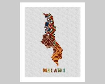Malawi Map Art Print Wall Decor, Malawi Poster,  Lilongwe Malawi African Art Print, African Map Poster