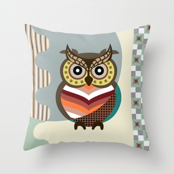 Owl Pillow, Wise Owl, Owl Pillow Case, Owl Pillow Cover, Bird Pillow Cover, Bird Pillow Case, Owl Decor Pillow