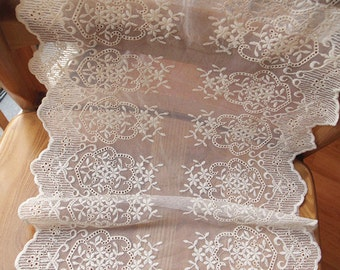 cream trim lace, cotton embroidery lace fabric for table runners, embroidered tulle lace trim with double motif