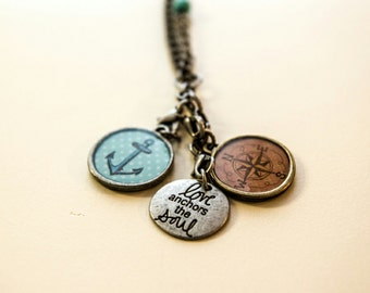 Anchor compass love necklace