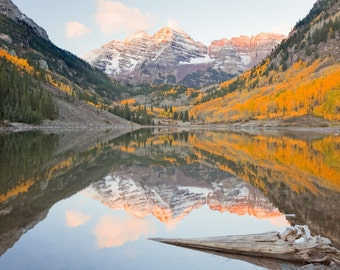 Colorado Landscape Photography Print - Maroon Bells Autumn - Aspen - Rocky Mountain - MetalPrint Option - 11x14 16x20 20x30 24x36 30x40
