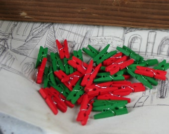 Mini Wooden Clothespins, Red and Green Clothes Pins, Pegs, Crafting Pegs, Rustic, Christmas