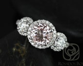 Dita 7mm 14kt White Gold Round Morganite, FB Moissanite, Diamonds 3 Stone Engagement Ring (Other metals and stone options available)
