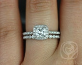 Camila 5mm & Petite Bubbles 14kt FB Moissanite and Diamonds Cushion Halo Wedding Set (Other metals and stone options available)