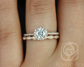 Kubian 5mm & Christie 14kt Rose Gold FB Moissanite and Diamonds Halo Wedding Set (Other metals and stone options available)