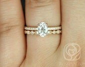 Darcy 7x5mm & Ult Pte Bd Eye 14kt Rose Gold Oval FB Moissanite and Diamonds Wedding Set (Other metals and stone options available)