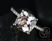 Heidi 9mm 14kt Rose Gold Cushion Morganite and Diamond Basket Engagement Ring (Other metals and stone options available)