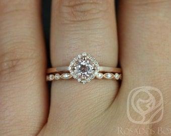 Rosados Box Kyla 5mm & Ultra Petite Bead Eye 14kt Morganite and Diamond Cushion Halo Wedding Set