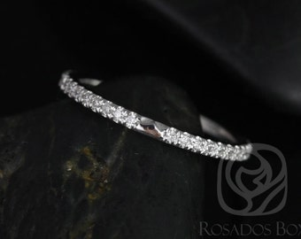Rosados Box DIAMOND FREE 14kt White Gold Matching Band to Eloise 6.5mm Size White Sapphires ALMOST Eternity Band