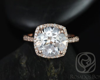 Barra 10mm 14kt Rose Gold Round White Topaz and Diamond Cushion Halo Engagement Ring (Other metals and stone options available)