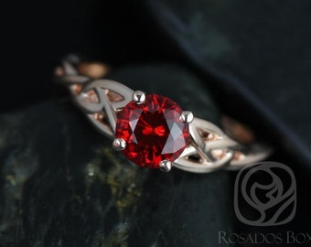 Rosados Box Cassidy 6mm 14kt Rose Gold Round Ruby Celtic Knot Engagement Ring