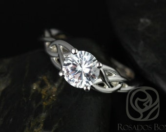 Rosados Box Cassidy 6mm 14kt White Gold Round White Sapphire Celtic Knot Engagement Ring