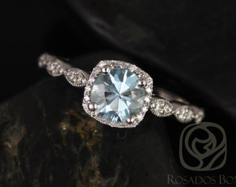 Christie 6mm 14kt White Gold Aquamarine and Diamonds Cushion Halo WITH Milgrain Engagement Ring (Other metals and stone options available)