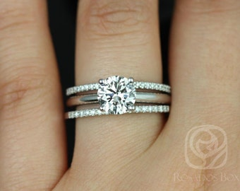 Alberta 7.5mm & Barra Dia 14kt White Gold Round F1- Moissanite and Diamond Solitaire TRIO Wedding Set (Other metals and stones available)