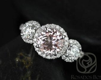Rosados Box Dita 7mm 14kt White Gold Round Morganite, F1- Moissanite, Diamonds 3 Stone Engagement Ring