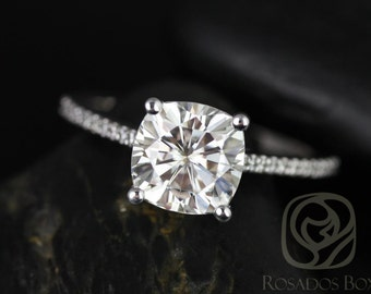 Marcelle 8mm 14kt White Gold Cushion F1- Moissanite and Diamonds Cathedral Engagement Ring (Other metals and stone options available)