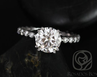 Naomi 8mm 14kt White Gold Round F1- Moissanite and Diamonds Double Talon Engagement Ring (Other Metals Available)