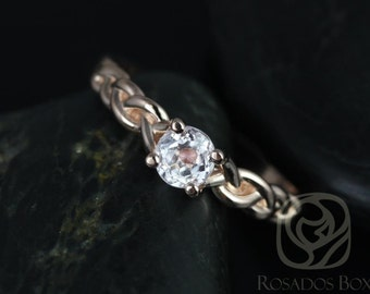 Rosados Box Prudence 5mm 14kt Rose Gold Round Kunzite Braided Engagement Ring