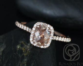 Romani 7x5mm 14kt Rose Gold Oregon SunStone and Diamonds Cushion Halo Engagement Ring (Other Center Stone Available Upon Request)
