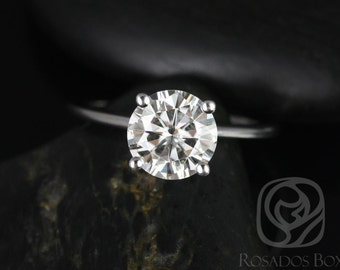 Rosados Box Skinny Alberta 8mm 14kt White Gold Round F1- Moissanite Tulip Solitaire Engagement Ring