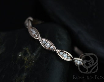 Ember 14kt Rose Gold Infinity DNA Twist Diamonds HALFWAY Eternity Band (Other Metals Options Available)