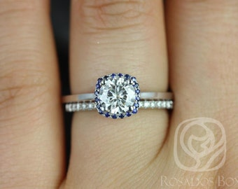 Rosados Box Bella 6mm & Barra Dia 14kt F1- Moissanite, Sapphire, Diamond Cushion Halo Wedding Set