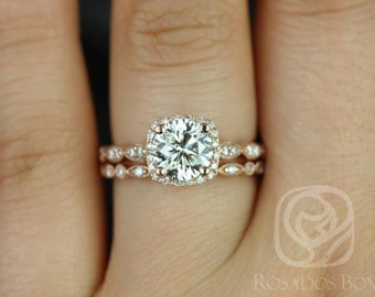 Christie 6.5mm & Ult Petite Bead Eye 14kt F1- Moissanite and Diamond WITH Milgrain Wedding Set (Other metals and stone options available)