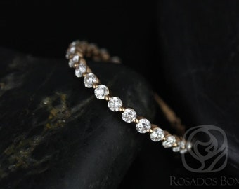 Naomi/Petite Bubble & Breathe 14kt Rose Gold Diamond ALMOST Eternity Band (Other Metals  Available)