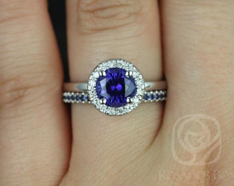Rosados Box Katie 7mm & Kierra 14kt White Gold Round Blue Sapphire and Diamonds Halo Wedding Set
