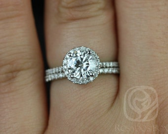 Kimberly 6.5mm 14kt White Gold Round F1- Moissanite and Diamonds Halo Wedding Set (Other metals and stone options available)