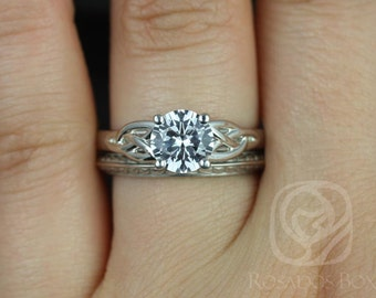 Rosados Box McCara 7mm & Gilda 14kt White Gold Round White Sapphire Celtic Knot Wedding Set