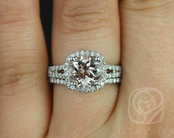 Pasley 8mm 14kt White Gold Morganite and Diamonds Cushion Halo with a Split Band Wedding Set (Other metals and stone options available)