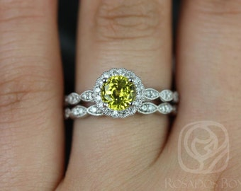 Sunny 6mm 14kt White Gold Yellow Sapphire & Diamond Flower Halo WITH Milgrain Wedding Set (Other metals and stone options available)