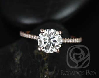 DIAMOND FREE Eloise 7.5mm 14kt Rose Gold Round F1- Moissanite and White Sapphires Cathedral Engagement Ring